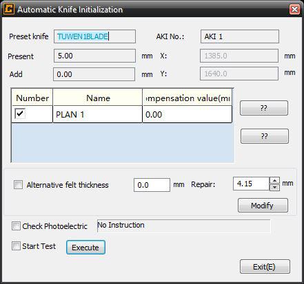 Automatische Messerinitialisierung